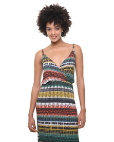 London Fashion Hub Missi Tribal Print Jersey Maxi Dress Multi