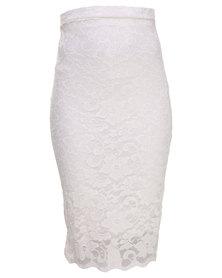 London Fashion Hub Lace Midi Skirt White