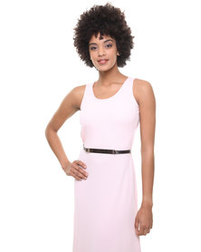 London Fashion Hub Missi Cut Out Crepe Maxi Dress Pink