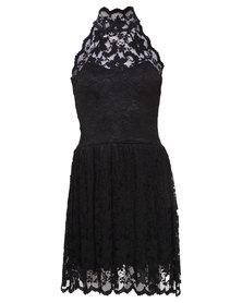 London Fashion Hub Lili London Halter Neck Lace Dress Black