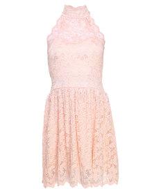 London Fashion Hub Halter Neck Lace Dress Nude
