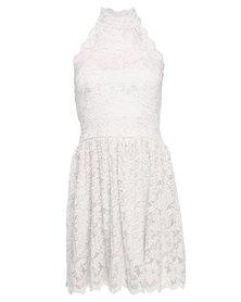 London Fashion Hub Lili London Halter Neck Lace Dress White