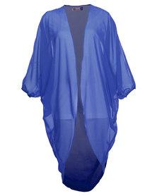 London Fashion Hub Lili London Drape Chiffon Kimono Blue