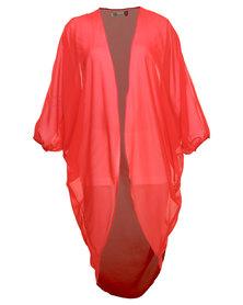 Lili London Drape Chiffon Kimono Red