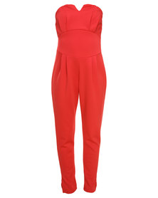 London Fashion Hub Bandeau Jumpsuit Red