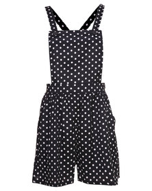 London Fashion Hub Polka Dot Printed Playsuit Black/White