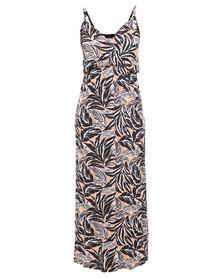 London Fashion Hub Missi Neon Botanic Print Jersey Maxi Dress Multi