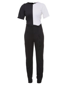 London Fashion Hub Style Plus Celebrity Inspired Contrast Crepe Jumpsuit Black