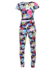 Missi Celebrity Inspired Floral Jumpsuit With Belt