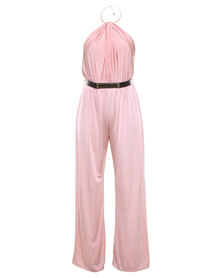 London Fashion Hub Linzie Choker Jumpsuit Pink