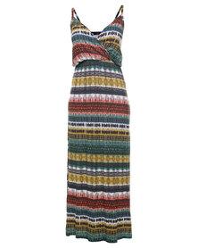 London Fashion Hub Missi Tribal Print Jersey Maxi Dress Multi
