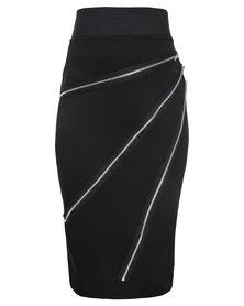 London Fashion Hub Midi Pencil Skirt with Zips on Front Black