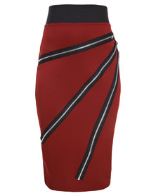 London Fashion Hub Midi Pencil Skirt with Zips on Front Burgundy