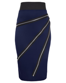 London Fashion Hub Lili London Midi Pencil Skirt with Zips on Front Navy