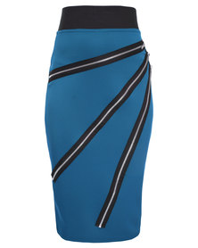 London Fashion Hub Lili London Midi Pencil Skirt with Zips on Front Blue