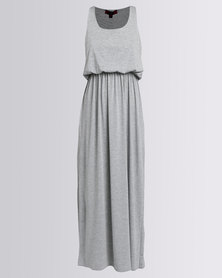 London Hub Fashion Viscose Bubble Top Maxi Dress Grey