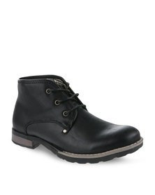 Luciano Rossi Lace-Up Boots Black