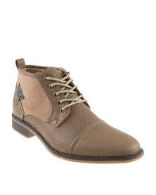 Luciano Rossi Mixed Fabrics Casual Lace Up Boots Light Brown