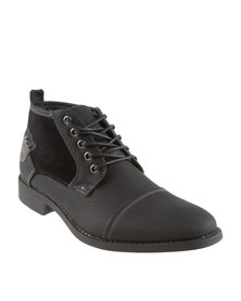 Luciano Rossi Mixed Fabrics Casual Lace Up Boots Black