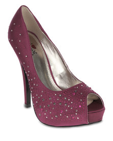 Luichiny Troop Pers Peep-Toe Platform Heels Purple
