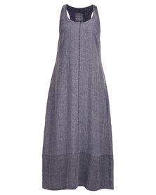 Lunar Linen Trapeze Dress Grey