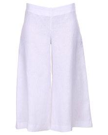 Lunar Cropped Linen Culottes White