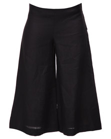 Lunar Cropped Linen Culottes Black