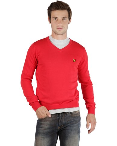 Lyle & Scott Men's Plain Pullover Top Red