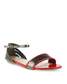 Madison Los Angeles Sling-Back Sandals Pewter/Red