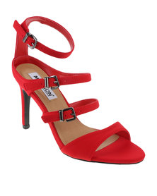 Madison Exclusive Kasey Multi Strap High Heel Red Sateen