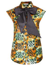 Mantsho by Palesa Mokubung Classic Sleeveless Shirt Blouse & XYZ Bow Multi-Coloured