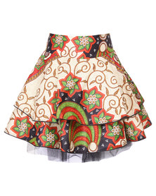 Mantsho By Palesa Mokubung Two Step Skirt with Tulle Multi