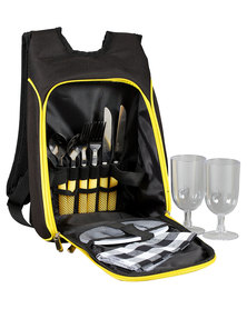 Marco Cheese and Wine Picnic Backpack For 2 Black/Yellow