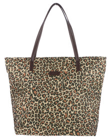Marie Claire Large Shopper Bag with Leopard Print Brown