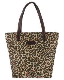 Marie Claire Small Shopper Bag with Leopard Print Brown