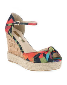 Marie Claire Casual Printed Wedge Sandals Multi