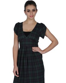 Marion and Lindie Wrap Bodice Dress Check Print