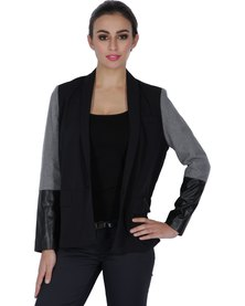 Marion and Lindie Colour-Block Blazer Black