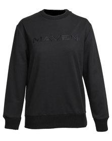 MAVEN Oversized Embroidered Crewneck Black