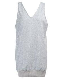 MAVEN V-Neck Dress With Ribbing Grey