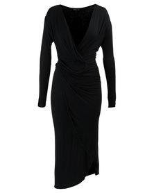 MAVEN Drape Dress With Ruching Black