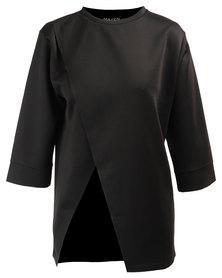 MAVEN Oversized Scupa Asymmetrical Top Black