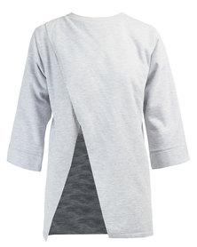 MAVEN Oversized Fleece Asymmetrical Top Grey