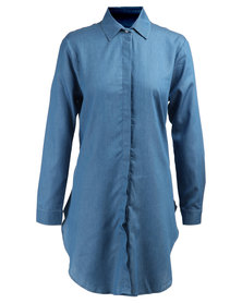 MAVEN Oversized Round-Bottom Chambray Denim Shirt Blue
