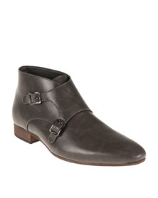 Mazerata Formal Slip On Boot With Double Buckle Brogue Grey