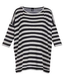 Me-A-Mama Stripe Tee Black/White