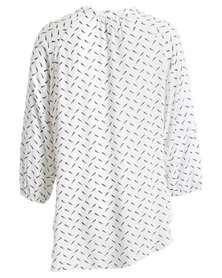 Me-A-Mama Feather Bow Blouse White Feather