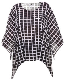 Megalo Kaftan with Grid Print Black and White