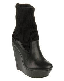 Messeca Carla Wedge Boots Black