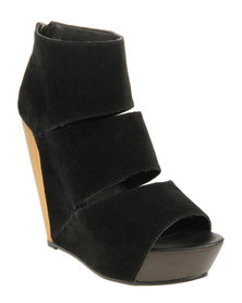 Messeca Coraline Platform Wedge Black And Gold